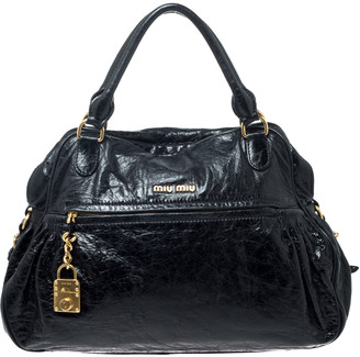 Miu Miu Black Leather Lily Distressed Satchel