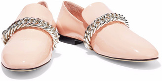 Christopher Kane Chain-trimmed Patent-leather Slippers