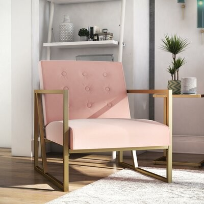 """Thumbnail for your product : CosmoLiving by Cosmopolitan Lexington 25.5"""" Wide Tufted Velvet Armchair Fabric: Blush Pink Velvet"""