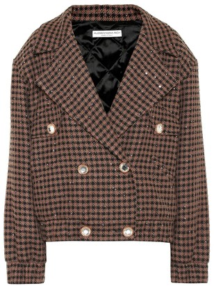 Alessandra Rich Embellished houndstooth wool-blend jacket