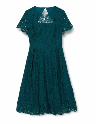 Amazon Brand - TRUTH & FABLE Women's Midi Lace A-Line Dress