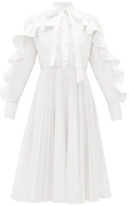 Valentino Ruffled Cotton-blend Poplin Midi Dress - Womens - White