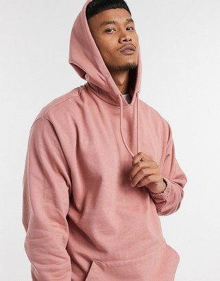 ASOS DESIGN co-ord organic oversized hoodie with fixed hem in pink