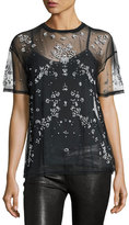 Cinq à Sept Clothing Kebede Embellished Mesh T-Shirt, Black
