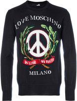 Love Moschino embroidered sweatshirt - men - Acrylic/Virgin Wool - S