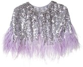 Jenny Packham sequinned capelet with feather trim