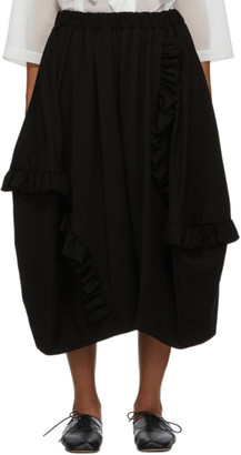 Comme des Garcons Black Wool Doeskin Ruffle Skirt