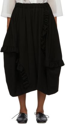 Comme des Garcons Black Wool Doeskin Ruffle Skirt