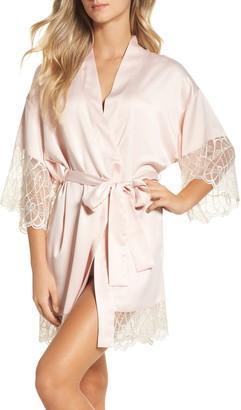 Flora Nikrooz Sleepwear Gabby Lace Trim Satin Robe