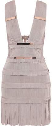 Herve Leger Iza Cutout Embellished Fringed Bandage Mini Dress