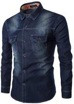 EGELBEL Men's Denim Double Pocket Slim Fit Long Sleeve Button Down Shirt