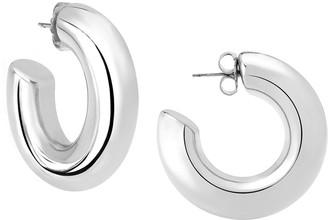 Janis Savitt High Polish Medium Hoop Earrings - Rhodium