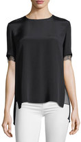 ADAM by Adam Lippes Lace-Trim Crepe T-Shirt