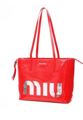 Miu Miu Logo Sequins Shopper