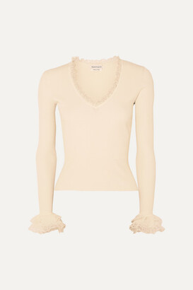Alexander McQueen Ruffled Ribbed-knit Sweater - Ivory