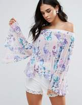 Jessica Wright Off Shoulder Bell Sleeve Floral Top