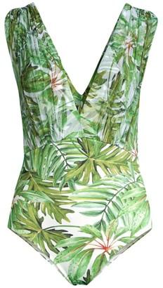 Chiara Boni Adenike Illusion Palm Leaf-Print One-Piece Swimsuit