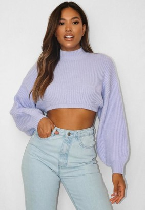 Missguided Lilac Boyfriend Cropped Knitted Jumper
