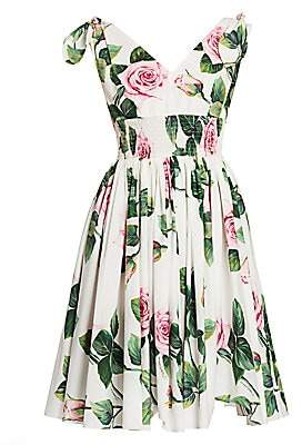 Dolce & Gabbana Women's Rose Print Tie-Shoulder Fit-&-Flare Dress