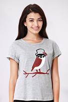 Yumi Owl Print Jersey T-Shirt Grey