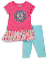 Flapdoodles Girls 2-6x Little Girls Floral Top and Leggings Set