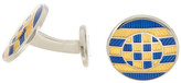David Donahue Sterling Silver Gold & Blue Multi Circle Cuff Links