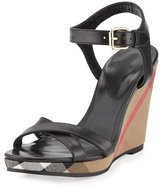 Burberry Rastrickson Check Wedge Sandal, Black