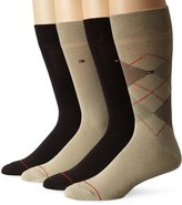 Tommy Hilfiger Men's 4 Pack Argyle Flat Knit Crew Sock