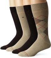 Tommy Hilfiger Men's 4 Pack Argyle Flat Knit Crew Sock