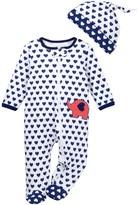 Offspring Heart Footie & Hat Set (Baby Girls)