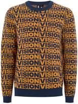 Topman VISION STREET WEAR Navy And Orange Repeat Jumper