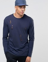 Jack and Jones Long Sleeve T-Shirt with Distressed Detail