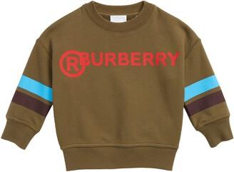 Burberry Kids' Gary Logo Stripe Cotton Sweatshirt