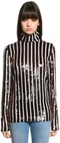 MSGM Sequined Stripes Top W/ High Collar