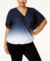 INC International Concepts Plus Size Butterfly-Sleeve Ombré Top, Only at Macy'