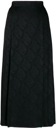 Fendi jacquard leaf print skirt