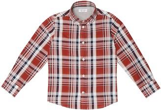 BRUNELLO CUCINELLI KIDS Checked cotton and linen shirt