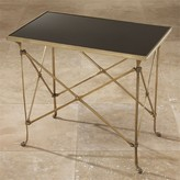 The Well Appointed House Global Views Rectangular Directoire Table in Brass with Black Granite Top
