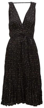 Mes Demoiselles Balsan Polka-dot Crinkled-silk Midi Dress - Black Print