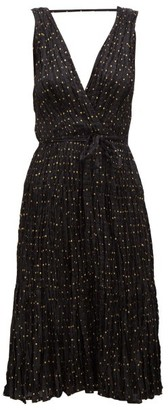 Mes Demoiselles Balsan Polka-dot Crinkled-silk Midi Dress - Womens - Black Print