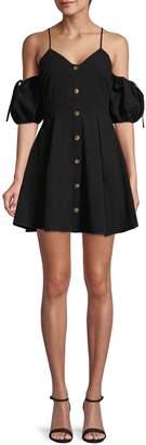 J.o.a. Cold-Shoulder Cotton Mini Dress