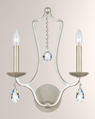 Swarovski Crystorama Manning Two-Light Silver-Leaf Sconce