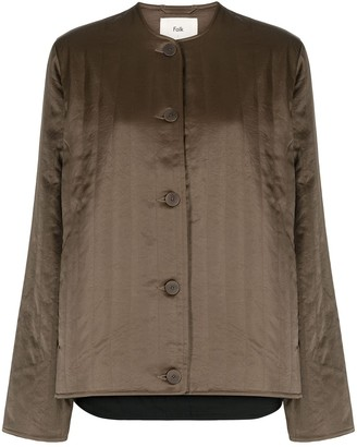 Folk Lightly-Quilted Collarless Jacket
