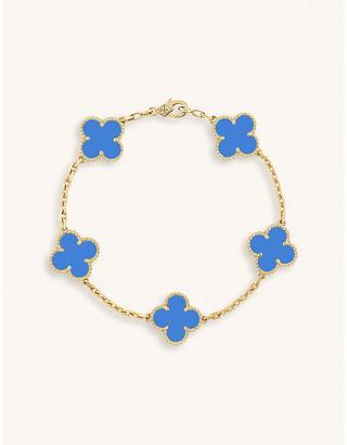 Van Cleef & Arpels Vintage Alhambra yellow-gold agate bracelet