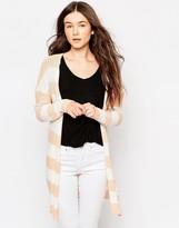 Vila Snip Stripe Longline Cardigan In White & Brown