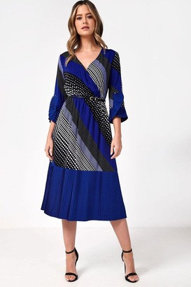 Iclothing iClothing Naomi Midi Dress in Contrast Spot and Stripe Print