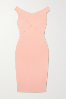 Roland Mouret Amarula Off-the-shoulder Wool-crepe Midi Dress - Pink