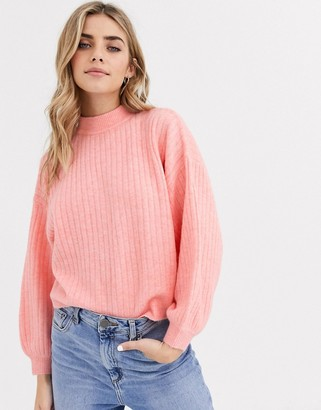 Miss Selfridge rib jumper with funnel neck in pink-Orange