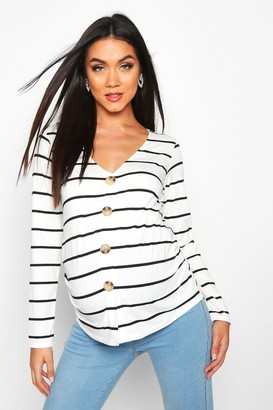 boohoo Maternity Button Front Stripe Top