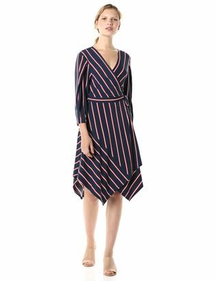 BCBGMAXAZRIA Azria Women's Stripe Handkerchief Wrap Dress